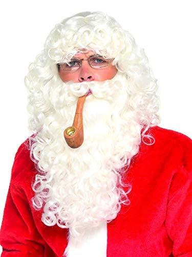 Herren Deluxe Weihnachtsmann Kostüm Set Weihnachten Festlich Weihnachtsmann Brillen Bart Perücke - Deluxe Kostüm Bart Und Perücke Set
