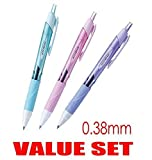 Uni-ball Jetstream Extra Fine & Micro Point Click Retractable Roller Ball Pens,-Rubber Grip Type -0.38mm-Black Ink-Color Body Type-Sky Blue,Light Pink,Lavender Body- Each 1 Pen- Value Set of 3(With Our Shop Original Product Description)