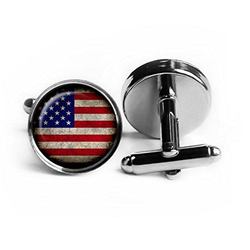United States of America USA Flag Amerika Flagge Rhodium Silber Manschettenknöpfe