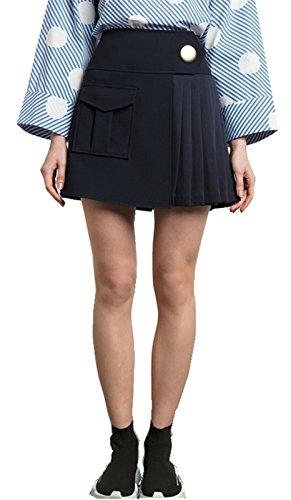 Sexy Hohe Taille Asymmetrisch One Knopfleiste Tasche Taschen Vorne Plissee Mini A Linien A Linie Ausgestellte Skirt Rock Blau L (A-linie Co Rock)