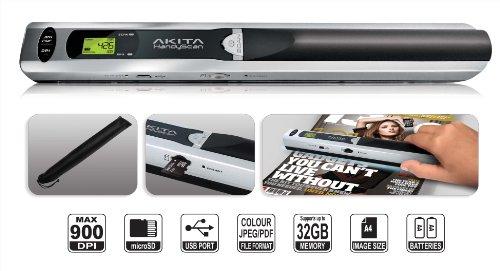 Akita HandyScan AHS049 Kabelloser, tragbarer Farb-Handscanner mit variabler Scanauflösung inklusive 4GB Speicherkarte, Farbe: Grau/Schwarz