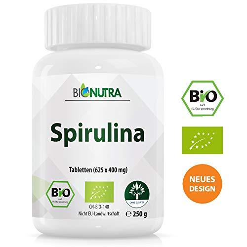 BioNutra Spirulina-Presslinge Bio 250 g, 625 x 400 mg Tabletten-Dose, ohne Zusätze, rückstandskontrolliert, aus kontrolliert biologischer Kultur