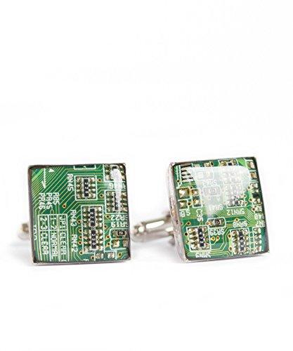 Recycled Shaltungsplatine (circuit board) Manschettenknopf, Quadrat, Grün
