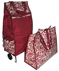 cabas roulette pliable bordeaux floral sac de plage. Black Bedroom Furniture Sets. Home Design Ideas