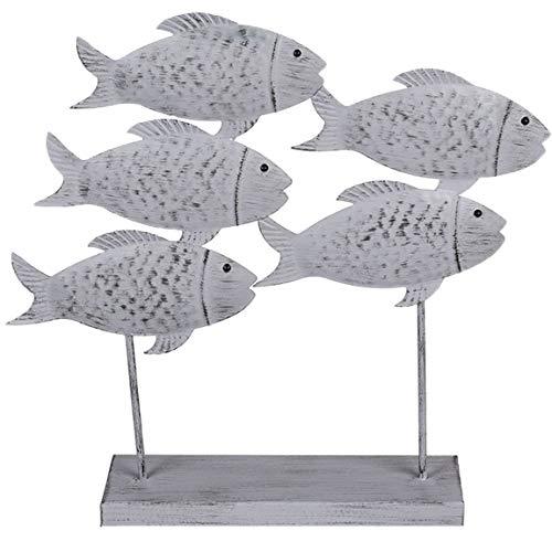 Bada Bing Deko Figuren Fischschwarm Ca. 31 x 30 cm Fische Auf Sockel Metallfische Dekotrend Modern 41