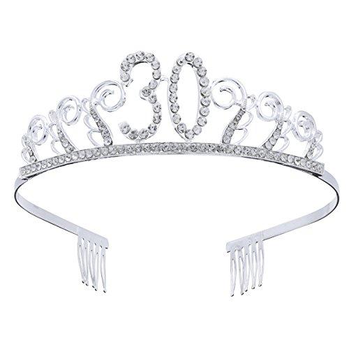 Frcolor 30. Geburtstag Crystal Tiara Kronen Stirnband mit Haarkämmen (30. Geburtstag Tiara)