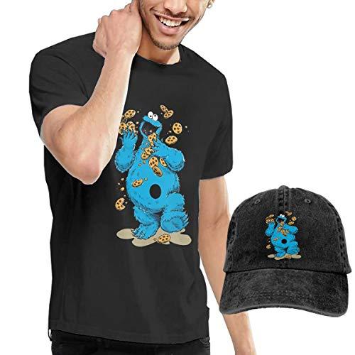 Knitkee Cookie Monster Crazy Cookies Herren Weich T-Shirt and Mützen Kombination Black S