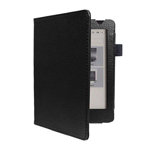 Preisvergleich Produktbild Hunpta Leder Slim Folding Stand Painted Case Cover für Kobo Aura H2O Edition 2 6, 8 Zoll (schwarz)