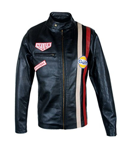 Leder-Spot Herren, Damen Le Mans Steve McQueen Grand Prix Gulf Schaffell Leder Schwarze Jacke-4xl