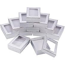 NBEADS 60PCS Cajas de Regalo de Plata Caja de Presentación Caja de Regalo de Cumpleaños con Collar de Acolchado Caja de Caja de Pendientes Caja de Anillo de ...