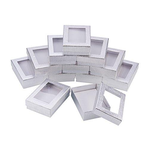 nbeads 60pcs Silberne Pappschmuck-Geschenk-Kästen mit weichem Auflage-Einsatz für Valentinstag Halsketten, Ohrringe und Ringe stellt Pakete, 9x6.5x2.8cm DAR (Fenster-kuchen-boxen)