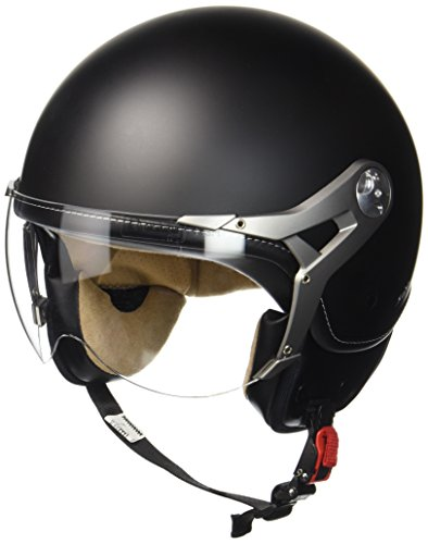 SOXON SP-325-MONO Night · Pilot Jet-Helm Retro Mofa Cruiser Bobber Chopper Biker Helmet Vespa-Helm Scooter-Helm Roller-Helm Motorrad-Helm Vintage · ECE zertifiziert · mit Visier · inkl. Stofftragetasche · Schwarz · M (57-58cm)