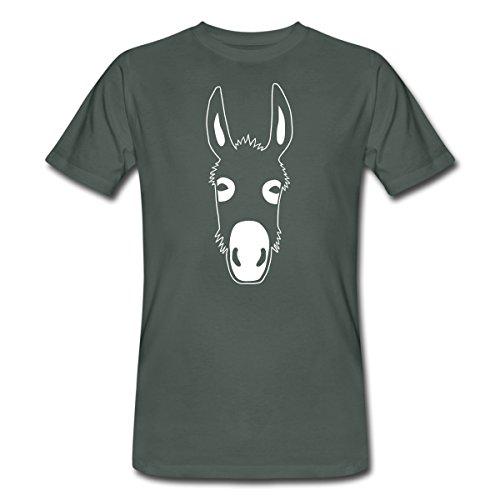 Spreadshirt Esel Kopf Männer Bio-T-Shirt, L, Dunkelgrau