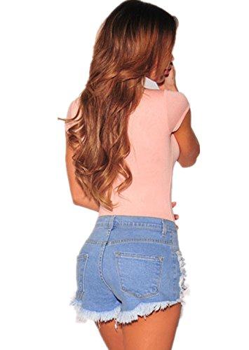 Jeans Shorts Damen Kurz High Waist Skinny HüFtjeans Sommer Blau Schwarz (S, C Hellblau)