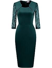 BeryLove Damen 3 4 Ärmel mit Spitzen Business Kleid Partykleid Pencil  Etuikleid f751ae6acb