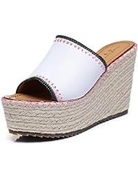 Zapatillas y sandalias de cuñas/Chanclas de suela gruesa cuerda tejer zapatos de tamaño pequeño