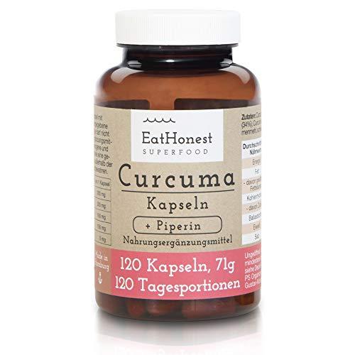 Curcuma/Kurkuma Kapseln von Eat Honest, 95% reines Kurkumawurzel-Extrakt, 120 Tagesportionen hochdosiert, in veganer Kapselhülle, Nahrungsergänzung ohne Zusatzstoffe, hergestellt in Deutschland