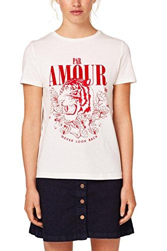 edc by ESPRIT Damen T-Shirt 088CC1K095, Mehrfarbig (Off White 110), Large Preisvergleich