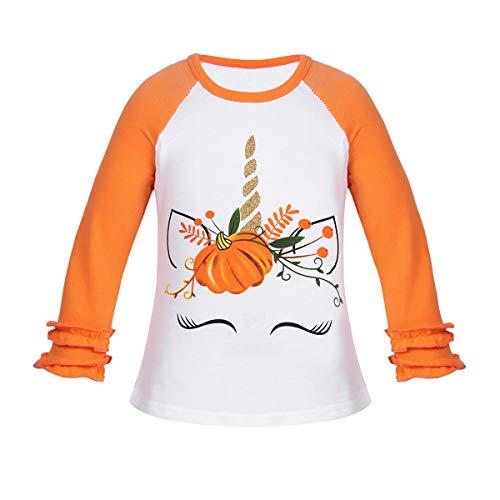 dPois Tops Kinder Mädchen Langarm T-Shirt mit Kürbis Aufdruck Shirt Baumwolle Einhorn Kostüm Cosplay Kostüm Halloween Fasching Gr.74-110 Weiß&Orange Orange 98-104/3-4Jahre