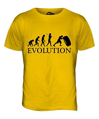 CandyMix Tyre Reifen Flip Evolution Des Menschen Herren T Shirt Dunkelgelb