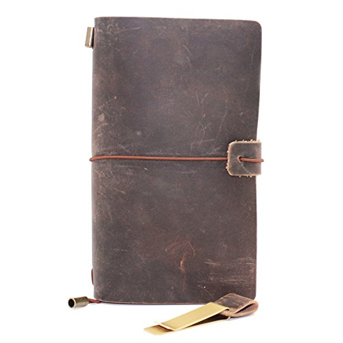 Boshiho vintage Leather Journal notebook Refillable Traveler' s Diary penna stilografica utenti Meaningful Christmas Gift M Brown