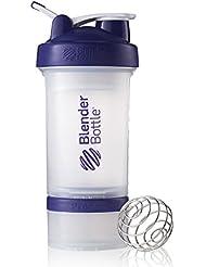 BlenderBottle Prostak Shaker (Fassungsvermögen 650 ml, skaliert bis 450 ml, mit 2 Container 150 ml und 100 ml, 1 Pillenfach und Blenderball) - lila transparent, 1er Pack (1 x 1 Stück)