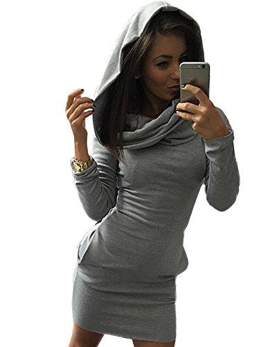 Langarm-hoodie Tunika (Minetom Damen Bodycon Pullover Kapuzenpullover Langarm Hoodie Tunika Longshirt Kleider Tunika Mit Kapuze Grau DE 36)