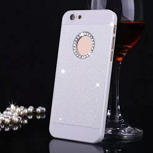 Cuitan PC Glitter Housse Case pour Apple iPhone 6 plus / 6s plus (5,5 Inch), avec Diamant Strass Sparkle Bling Shiny Retour Housse Back Cover Protecteur Etui Coque Cover Shell pour iPhone 6 plus / 6s  Blanc