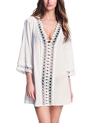 Landove Femme Maillot De Bain Robe Manche 3 4 Chemise Casual Tops Col V Haut Mini Robe De Plage Sarongs Bikini Cover Up Caftan Mode Blanc