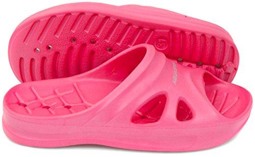 Aqua Speed rosa Badelatschen Florida + Mikrofaserhandtuch | Kinder | Duschsandalen | Badeschlappen | Coole Badepantoletten für Mädchen | Saunaschuhe | Saunasandalen | Sliders | Slide | Slipper Gr 35
