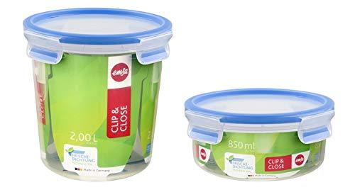 emsa butterdose Clip & Close 3D Perfect Clean Frischhaltebox 2er Set Emsa, rund, 850 ml und 2000 ml