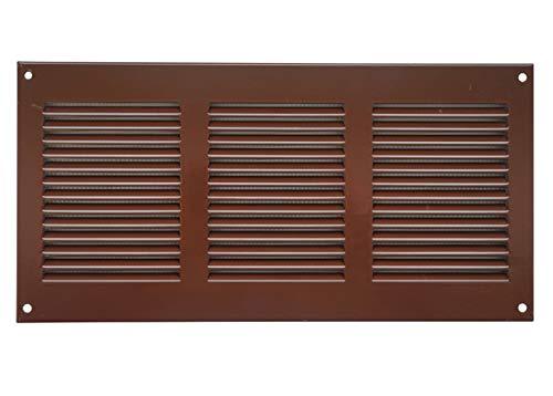 Lüftungsgitter 300x100mm Braun Abschlussgitter Insektenschutz Abluft Zuluft Gitter Metall, mr3010b