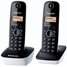 Panasonic KX-TG1612FRW - 2 teléfonos fijos inalámbricos DECT, color blanco/negro (importado)