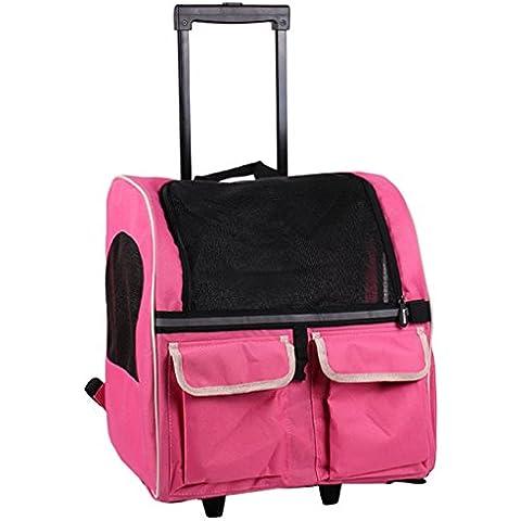 casa Monopoli Pet Bag Trolley / animale doppia cassa del carrello / animale Go Out Zaino Doggy Portable - Rosa