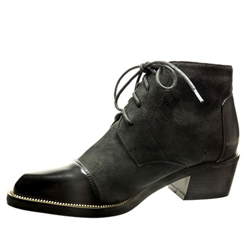 Angkorly - damen Schuhe Stiefeletten Brogue Schuh - bi-Material - Low boots - metallisch - Patent Blockabsatz high heel 4.5 CM Schwarz