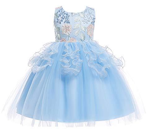 ASKEN Mädchen Brautjungfer Kleid Urlaub Tutu Stickerei Prinzessin Geburtstag Party Ballkleid Himmel Blau 140