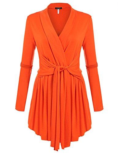 Beyove Damen Cardigan Offener V-Ausschnitt Wasserfall Strickjacke Strickmantel Sweatshirt Langarmshirt Mantel Tops Outwear - Damen Mantel Pullover