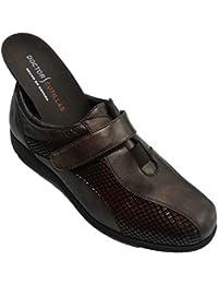 Zapato Velcro Mujer Especial para Plantillas Muy cómodo Doctor Cutillas en marrón