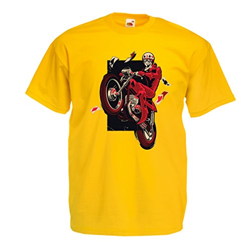 lepni.me Maglietta da Uomo Motorcyclist - Abbigliamento Moto, Abiti retrò (Large Giallo Multicolore)
