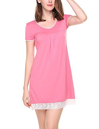 Unibelle Damen Gemütlich Nachthemd Kurz Sleepshirt Baumwolle Nachtwäsche Negligee Rosa L (Kurze Baumwoll-nachthemd)