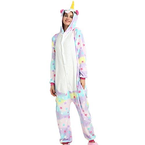 Imagen de jysport unicornio pijama cosplay disfraces animal ropa carnaval halloween navidad pijama unicornio estrella, xl se adapta a la altura 70  74 inch  alternativa