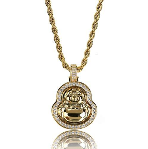 t vergoldet Bling Bling Kubikzircon Maitreya Anhänger Halskette Hip Hop Schmuck und Geschenkbox,Gold ()