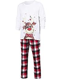 Zolimx Weihnachten Family Pyjamas Anzug Karierte Bluse Hose Family Pyjamas Nachtwäsche passend zum Weihnachts-Set