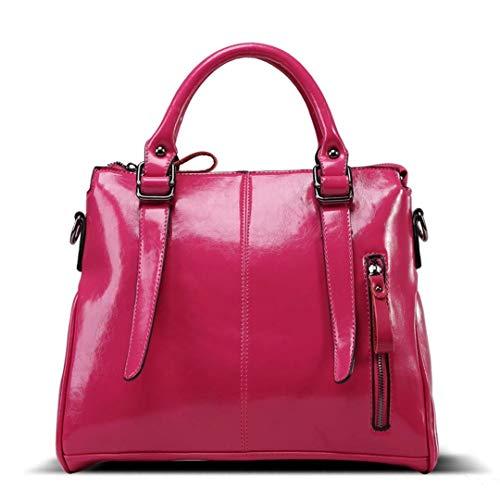 Doppel-zip Herren Aktentasche (Aktentasche Frau Italienischen Weichen Leder Handtaschen Damen Designer Leder Doppel Einfacher Stil Zip Handtaschen Schultertasche Tote Bag Taschen (Color : Rosa, Size : One Size))