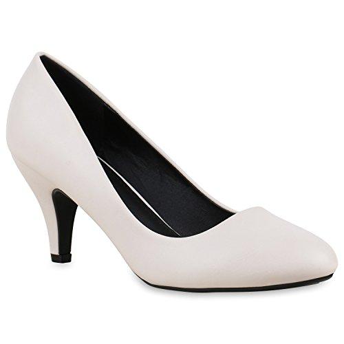 Klassische Damen Pumps | Stilettos Abendschuhe | Lederoptik Glitzer Metallic Lack | Schleifen Tanzschuhe Brautschuhe Creme Carlton
