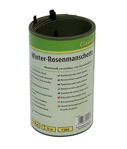 Floraworld 016918 Set de 4 Rose Manchette d'hiver, Plastique, Vert, 90 x 10 x 16 cm