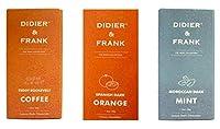 Didier & Frank Chocolate - Coffee Dark 50g, Orange Dark 50g, Mint Dark 50g.