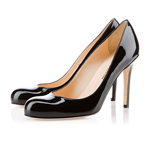 EDEFS Femmes Artisan Fashion Escarpins Classiques Délicats Bout Ronds Chaussures à talon aiguille de 100mm Travail Bureau Noir Brillant Noir Brillant