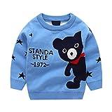 Kobay Kinder Jungen Mädchen Sweatshirts Pullover Pullover Pullover Bär gestrickt Tops Pullover Outfits(3-4T,Blau)