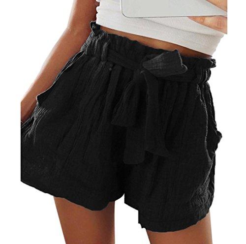 Shorts Damen Sommer Locker Luckycat Spitzen Shorts für Frauen Shorts Hose Sommerhosen Pants Hosen (A-012 Schwarz, Medium)